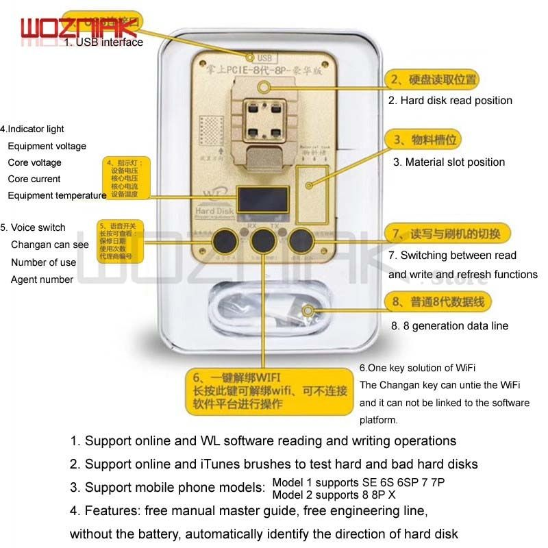Wozniak WL PCIE NAND Flash ic chip for iphone SE 6s 6sp 7 7P PRO ard disk test repair instrument Programmer HDD Serial SN