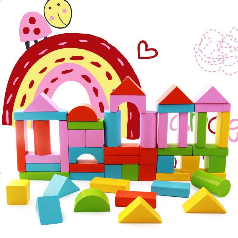 50 pièces classique bois couleur bloc jouet préscolaire éducation ville enfants premières leçons intelligence en bois blocs de construction jouets/cadeau