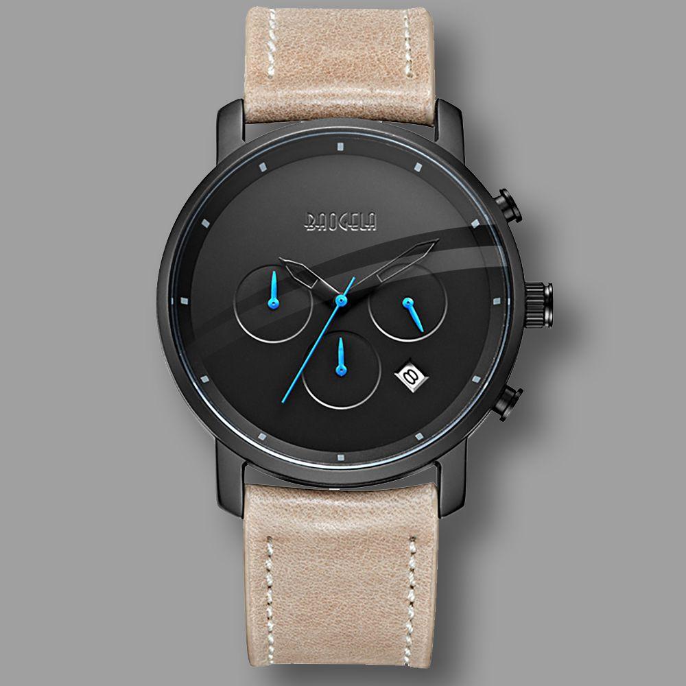 Hot Dropship Fashion Chronograph Analog Quartz Watch Date Luminous Hands Waterproof Genuine leather Strap Wristswatch for Man