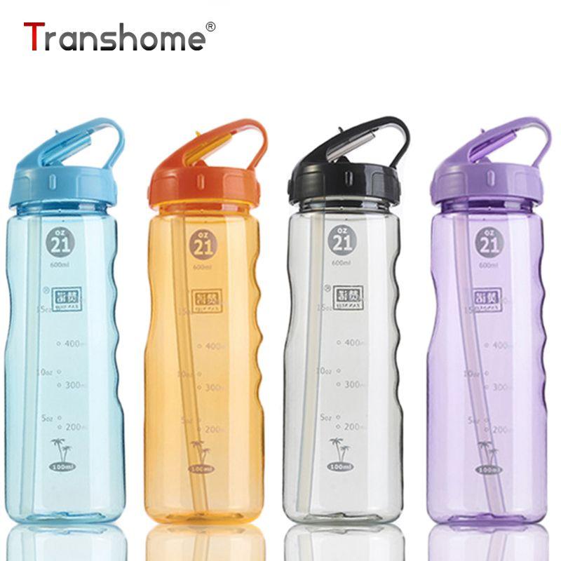 Transhome здоровья Sport bottle с трубочкой, 650 мл drinkfles для спорта на открытом воздухе Велосипед Путешествий Кемпинг белка шейкер бутылка воды Tour