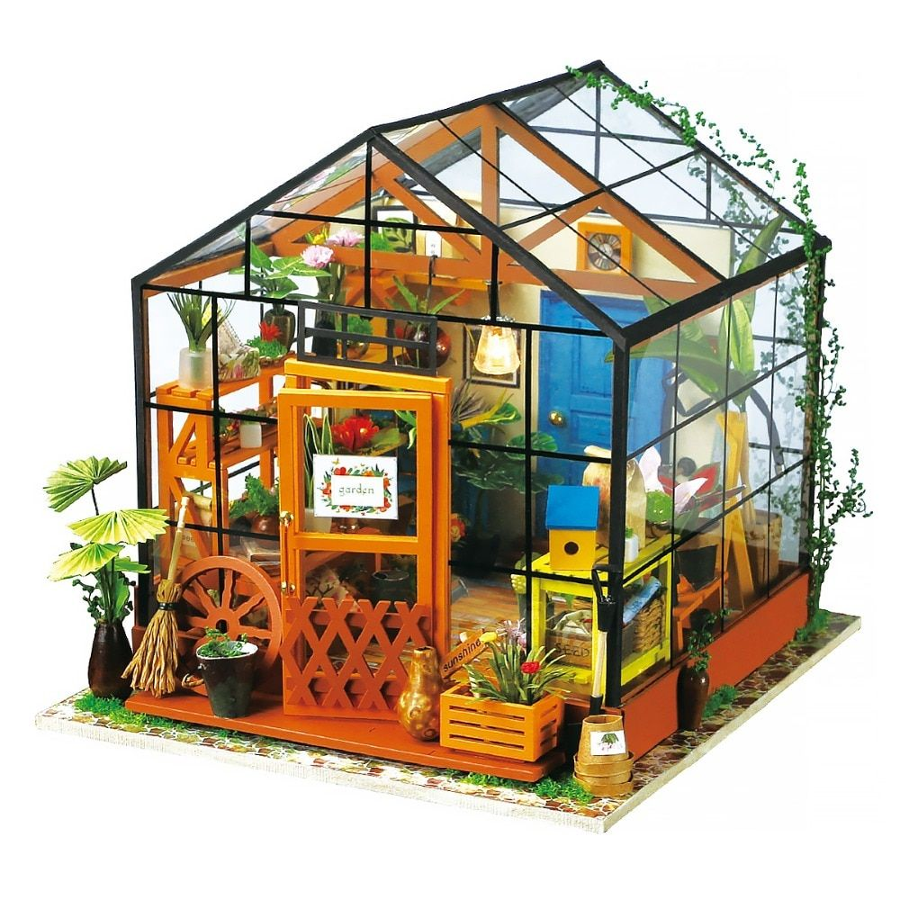Robotime 3D Wooden DIY Handmade Furniture Miniature Dollhouse Building Model Home Decoration green house girls gifts DG104