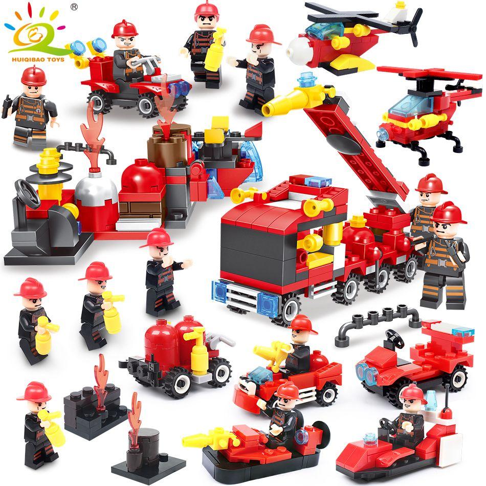 376 pièces 8in1 lutte contre l'incendie blocs de construction Compatible Avec légèreté ville Camion Pompier Hélicoptère Éducatifs briques jouet pour enfant