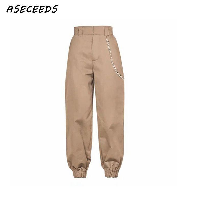Printemps 2019 mode femme camo pantalon femmes cargo taille haute pantalon lâche pantalons joggers femmes camouflage pantalons de survêtement streetwear