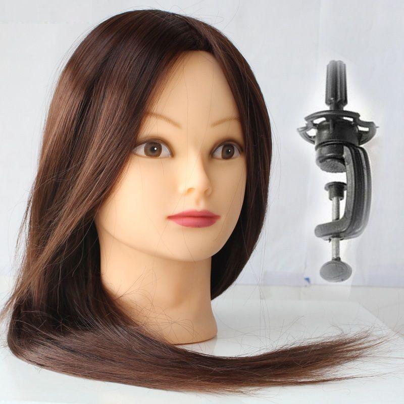 Mannequin tête cheveux marron tête d'entraînement Maniqui coiffure poupée têtes coiffeur Manik résistant à la chaleur animaux cheveux maquillage