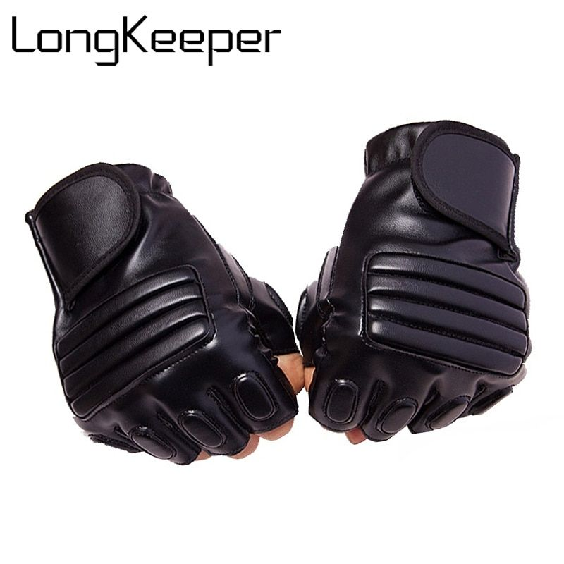 Long Keeper New Style Mens Leather Driving Gloves Fitness Gloves Half Finger Tactical Gloves Black Guantes Luva Fingerless