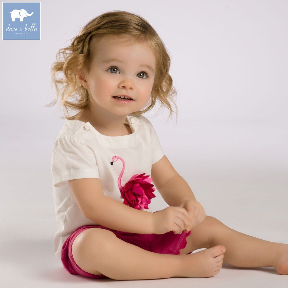 DB3588 dave bella summer baby girls pink flamingos clothing sets child pink set infant clothes kids sets baby costumes