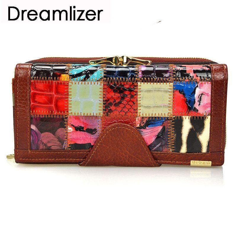 Dreamlizer 3 fois mode en cuir véritable femmes portefeuilles Patchwork moraillon Coin poche femelle embrayage femmes sac à main portefeuille