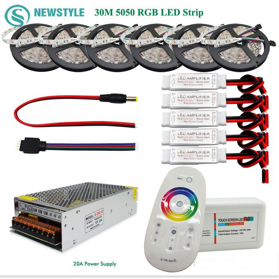 10 m 30 m 5050 RGB Led Bande 60 led/m Imperméable À L'eau IP65 bande A Mené lumière + Tactile Télécommande + 12 V Power Adapter + Amplificateur