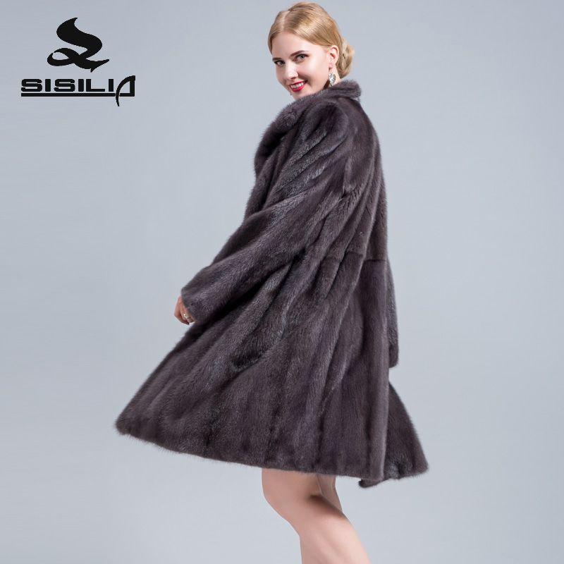 SISILIA 2018 new ladies real suede fur coat high quality Medium suede coat woman's luxury fur coat