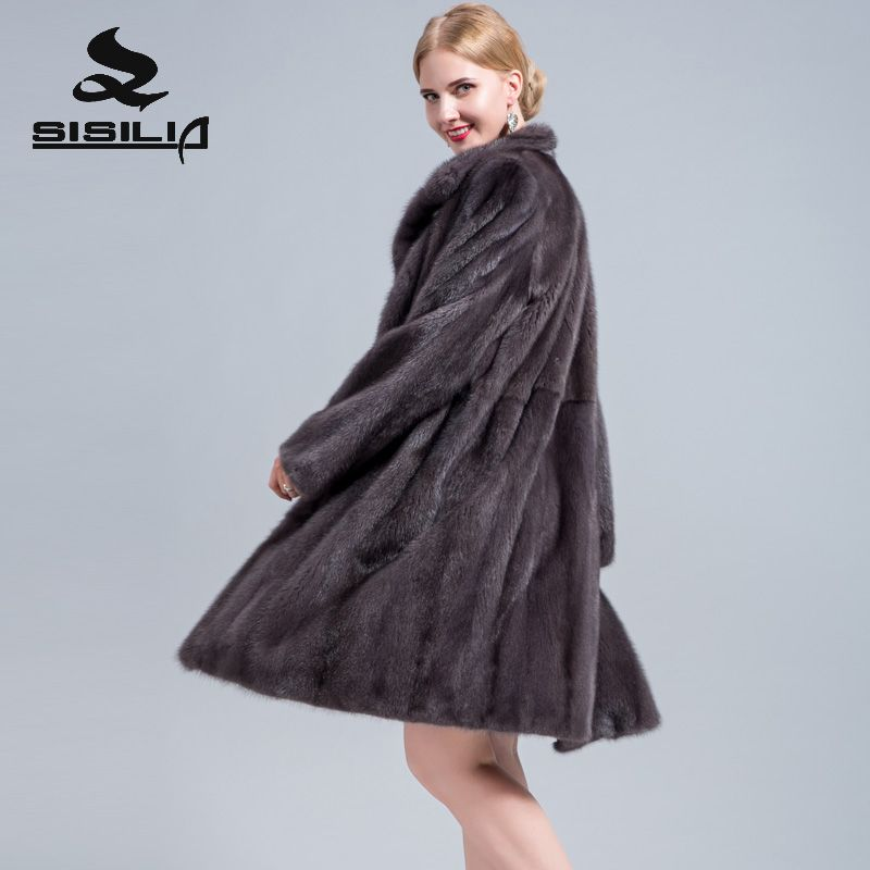 SISILIA 2018 new ladies real suede fur coat high quality Medium suede coat woman's luxury fur coat