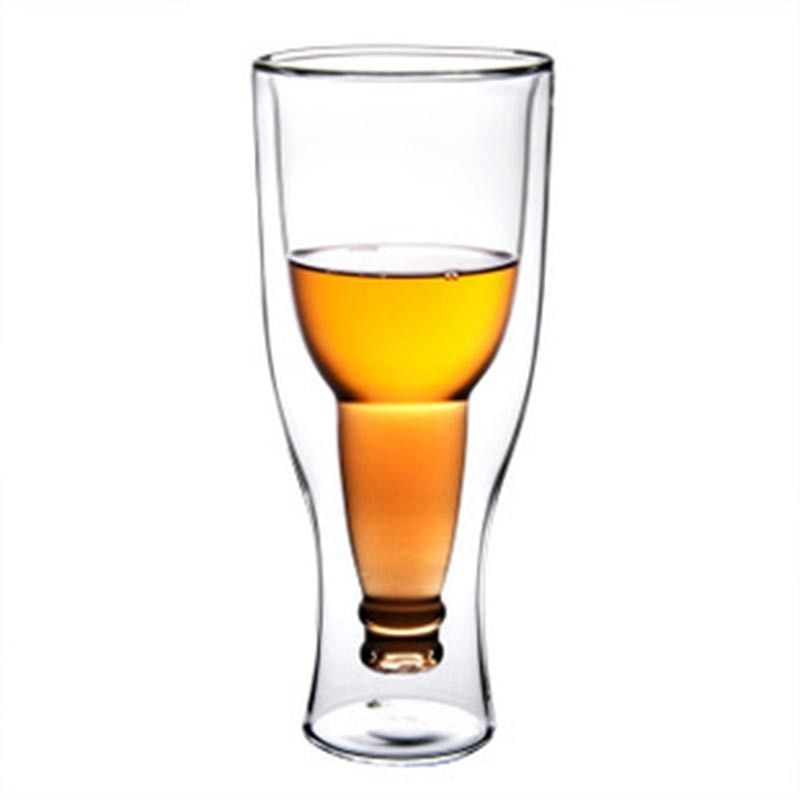 350ml Double Wall Layer Clear creative Heat-Resisting Glass Reverse Beer Wine Tea Beverage Crystal Drink Mugs Cups BS