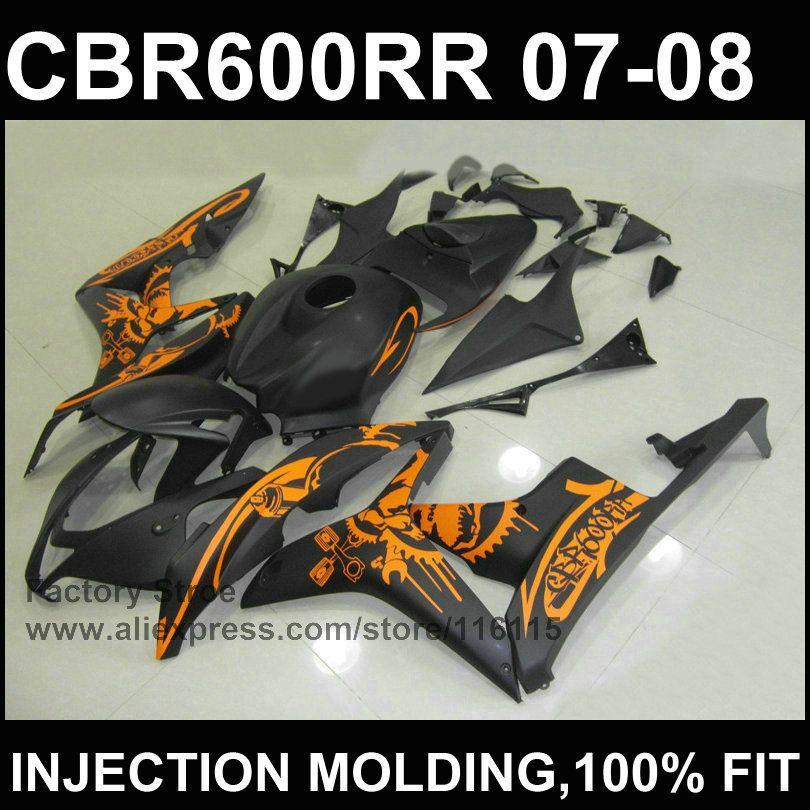 Schwarz orange verkleidung kits spritzguss verkleidung für HONDA F5 CBR 600 RR 2007 2008 cbr600rr 07 08 abs-kunststoff verkleidung teil
