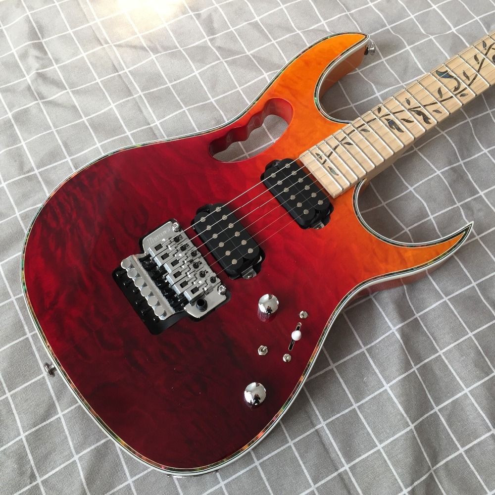 High quality of red and yellow 6 string electric guitar, double wave electric guitar custom shop, custom in 2018