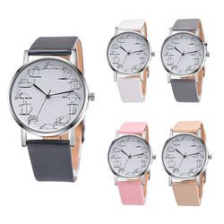 Blaus Feminino Kuarsa Watch Wanita Indah Kartun Kucing Pola Fashion Leather Strap Kasual QUARTZ-Watch Wanita Jam Saat Hadiah