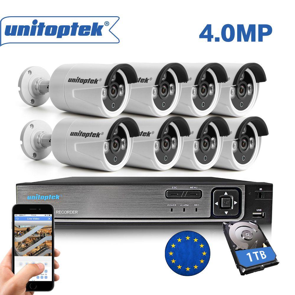 H.265 8CH 4MP CCTV Surveillance Kit 8CH NVR Max 4 karat Ausgang Video Ausgang 8 stücke 4MP IP Kamera Im Freien bewegung Erkennen Sicherheit System