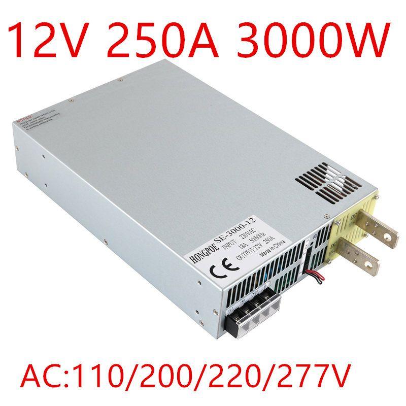 1 STÜCKE 3000 Watt 0-12 v netzteil 12 V 250A AC-DC High-Power NETZTEIL 0-5 V analog signalsteuerung DC12V SE-3000-12