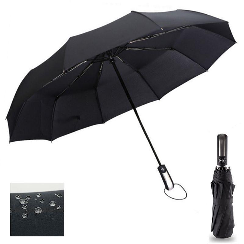 Vent résistant trois pliant automatique parapluie pluie femmes Auto luxe grand coupe-vent parapluies hommes cadre coupe-vent 10K Parasol