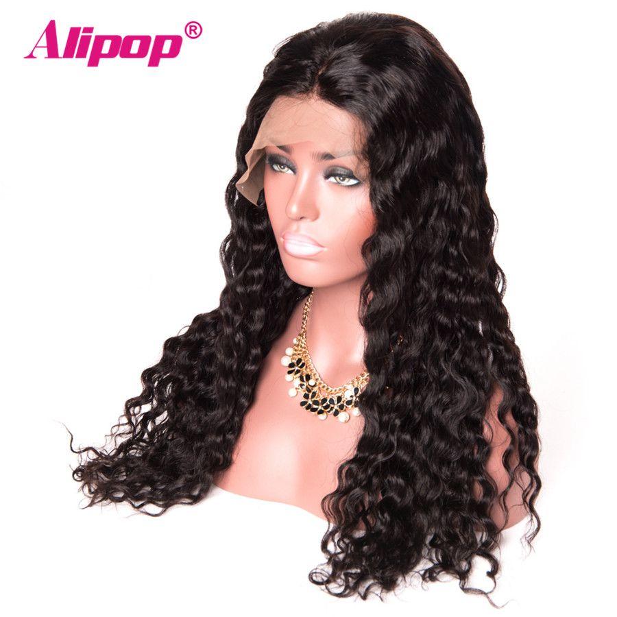 360 Dentelle Frontale Perruque Pré Pincées Avec Bébé Cheveux Brésiliens Vague D'eau Perruque ALIPOP Avant de Lacet Perruques de Cheveux Humains Remy 360 Dentelle perruque