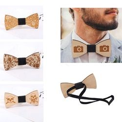 2019 Hot Fashion Mens Wooden Bow Tie Accessory Wedding Party Christmas Gifts Bamboo Wood Bowtie Neck Wear for Men Women cravat
