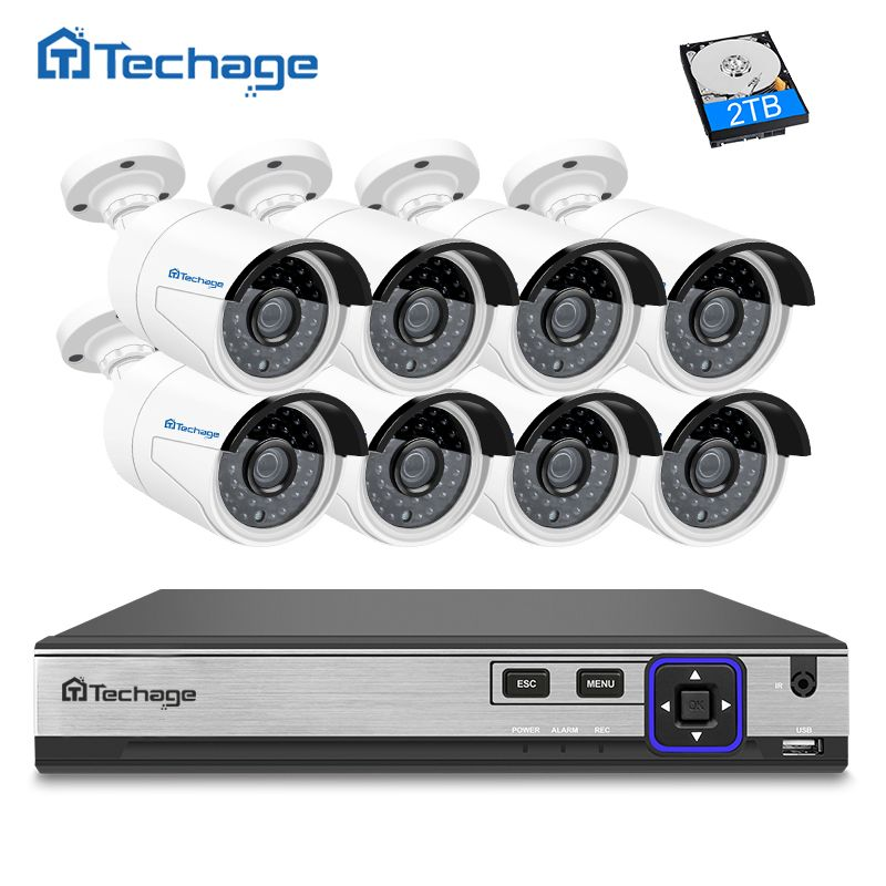 Techage H.265 8CH POE NVR Kit 4MP Security Camera CCTV System (8) Outdoor IP Camera IP66 Waterproof P2P Onvif Surveillance Set