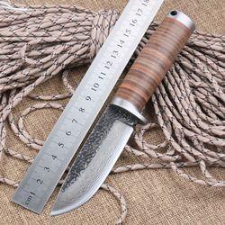 Tajam pisau pisau Tetap Berburu Buatan Tangan ditempa Baja Damaskus 58HRC kulit menangani kelangsungan hidup Taktis alat camping knifeblade