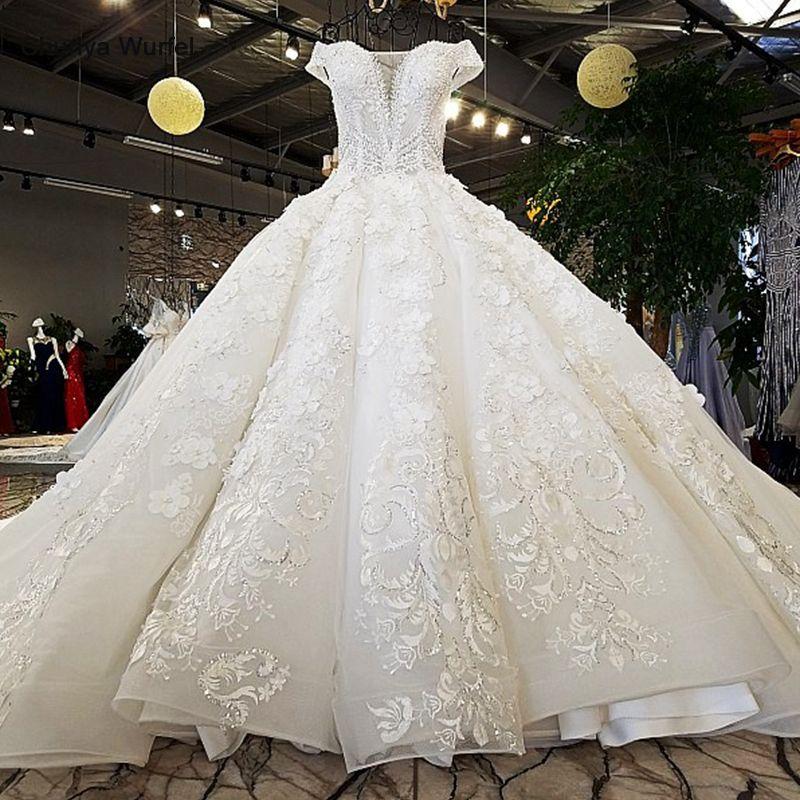 LS74232 vestido de noiva 2019 elfenbein und champagner off schulter liebsten ballkleid lace up hochzeit kleider mit langen zug