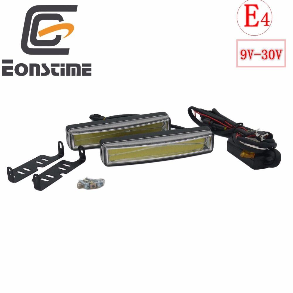 Eonstime <font><b>2pcs</b></font> 15cm COB LED Vehicles Car Daytime Running Light DRL Installation Bracket White Light Lamp 12V/24V Off function E4