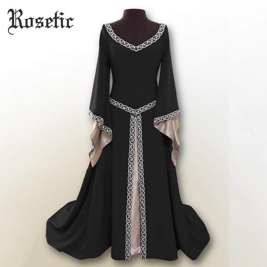 Rosetic Women Dresses Goth V-neck Irregular Long Sleeves Medieval COS Clothing Dress Women Vestidos Verano 2018 Long Party Dress