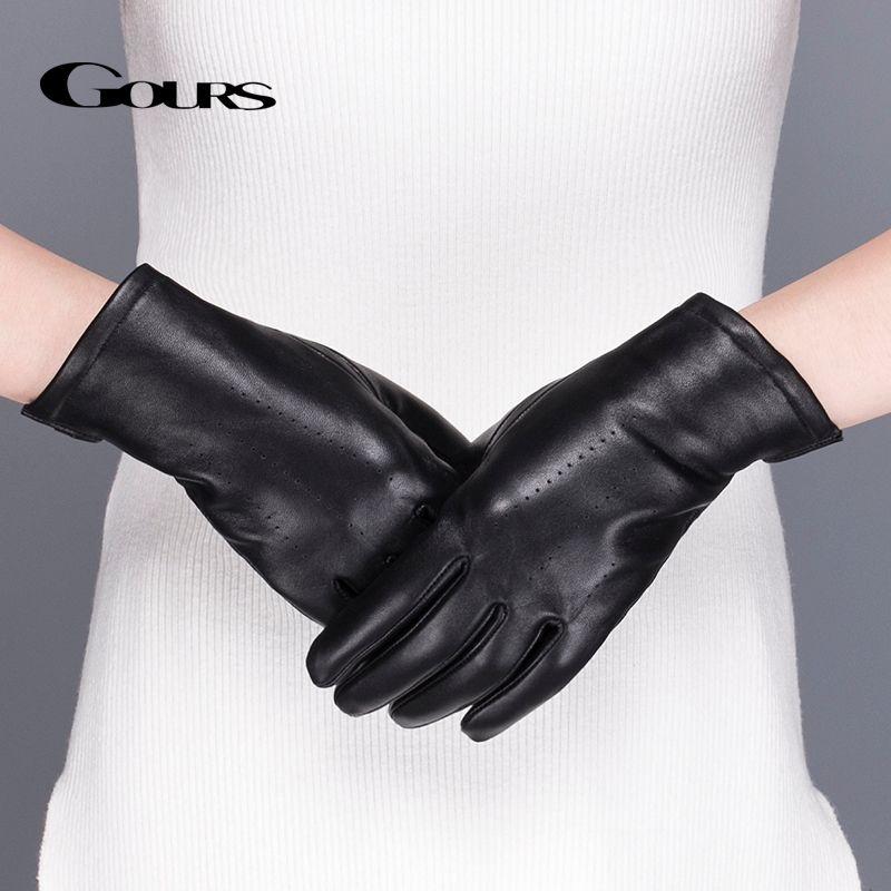 Gours Femmes de Véritable Gants En Cuir Noir Classique en peau de Mouton Tactile Écran Gants Hiver Chaud Épais De Mode Mitaines Nouveau GSL076