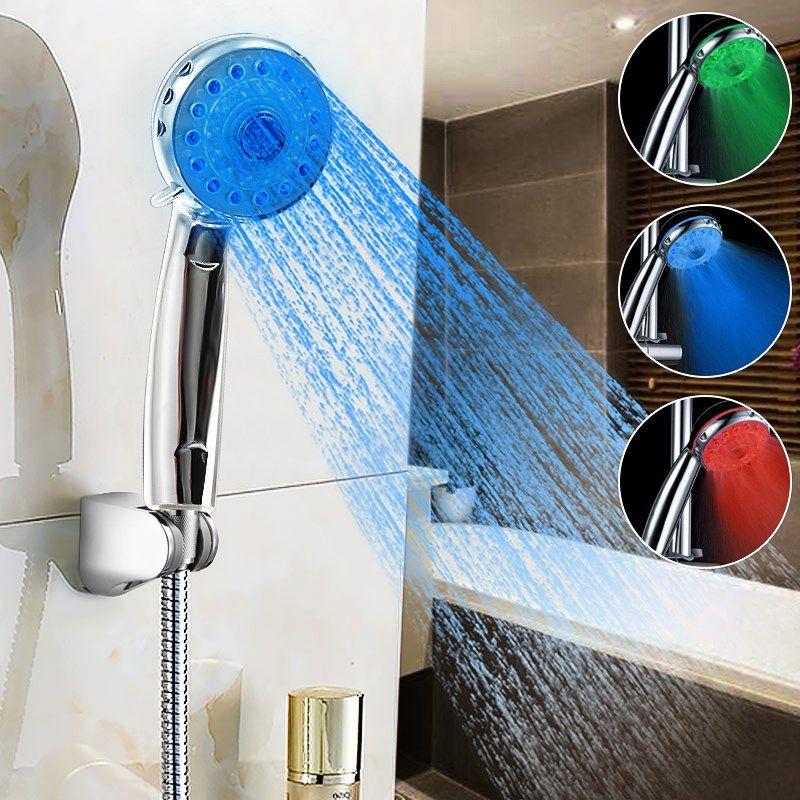 Einstellbare 3 Modi 3 Farbe Bad Hand Duschkopf Temperatursensor Bad Duschkopf Sprinkler