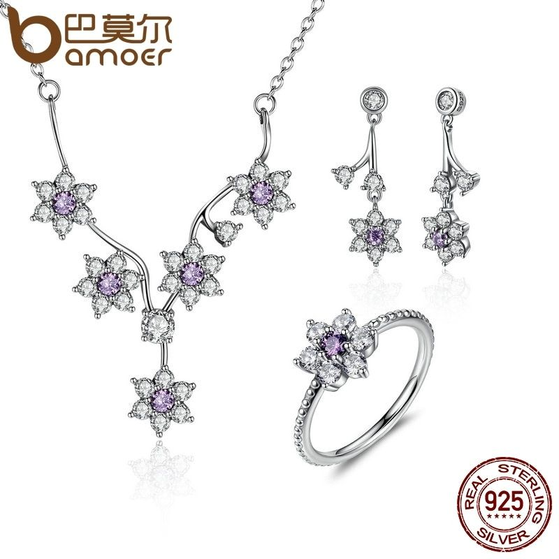 BAMOER 100% 925 Sterling Silver Forget Me Not, Purple & Clear CZ Jewelry Sets Wedding Engagement Jewelry Accessories ZHS003