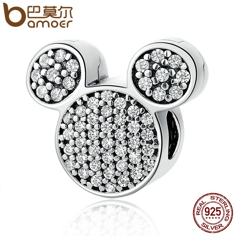 BAMOER Real 100% 925 Sterling Silver White Stones Child Bead Cartoon Charms Fit Bracelets Beads & Jewelry Making PSC053