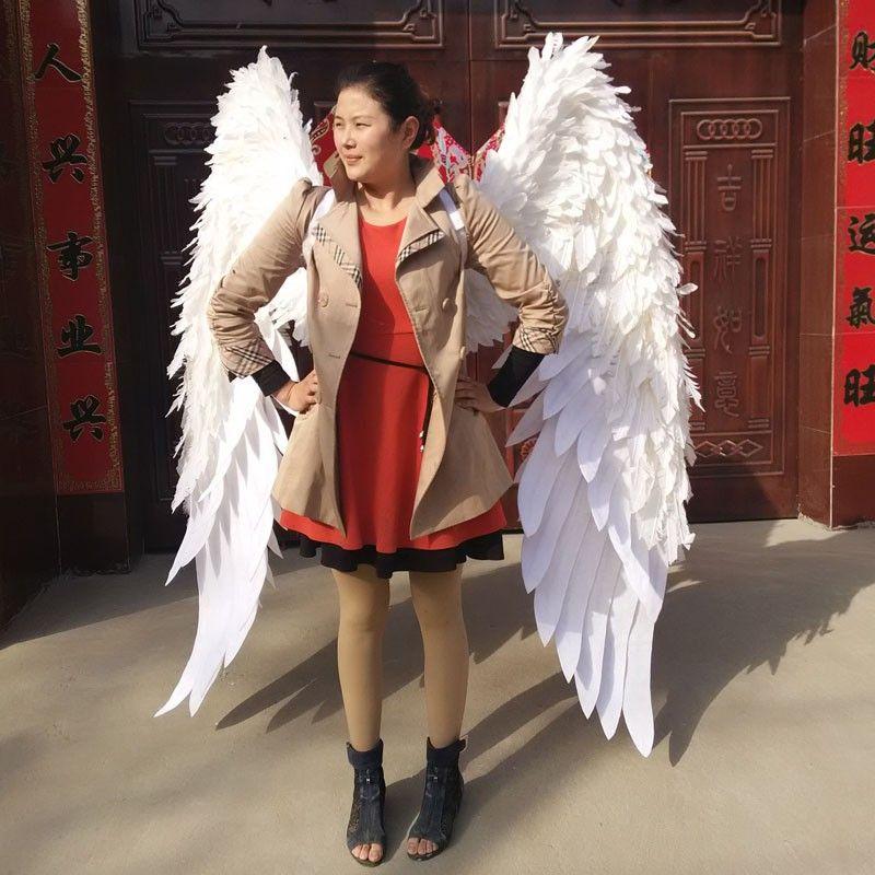 Zeigt karneval V kabarett bühnenkleidung flügel headwear rock große engel Feder-flügel Kostüme Set für frauen