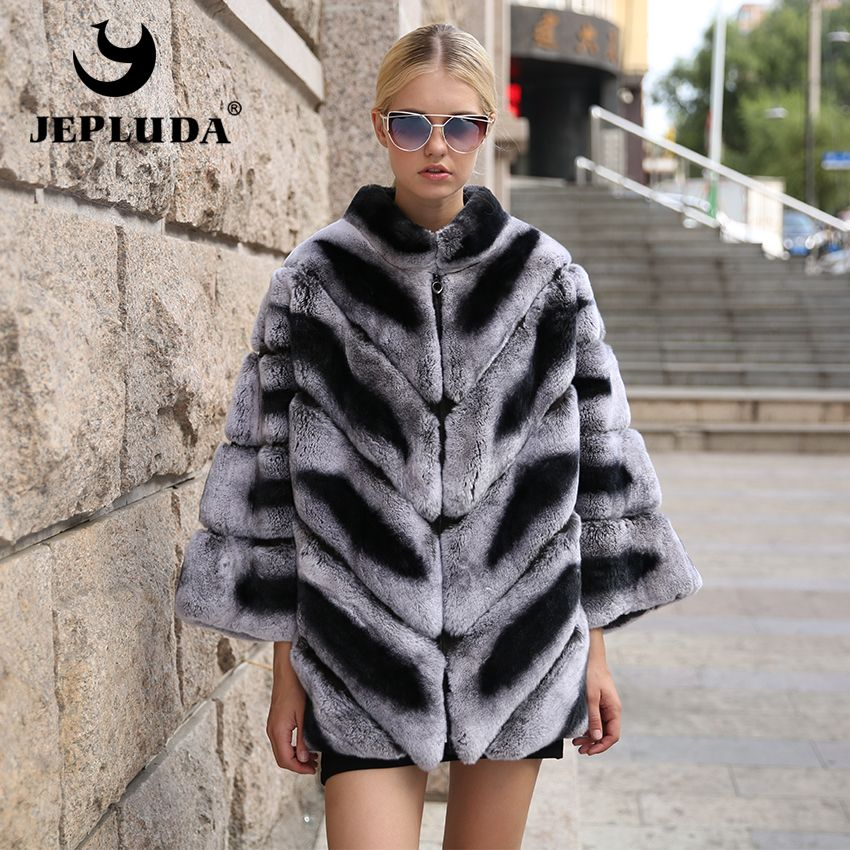 JEPLUDA Graceful Winter Women Natural Real Fur Coat Casual Bat Sleeve Thick Warm Real Rex Rabbit Fur Coat Winter Jacket Women