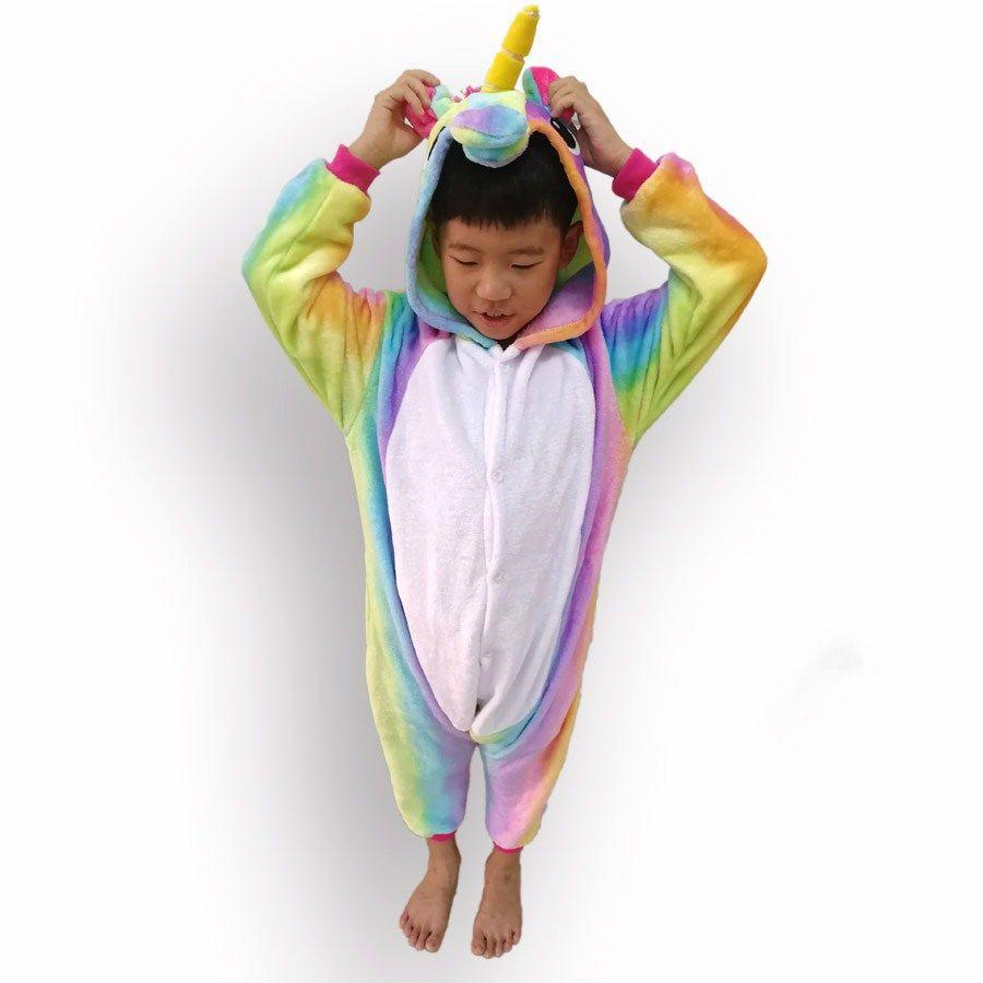 Profonde Arc-En-Rayé À Capuche Combinaisons Filles Garçons Fannel Animaux Licorne Pyjama À Manches Longues Onesie Halloween Costume Pour Enfants