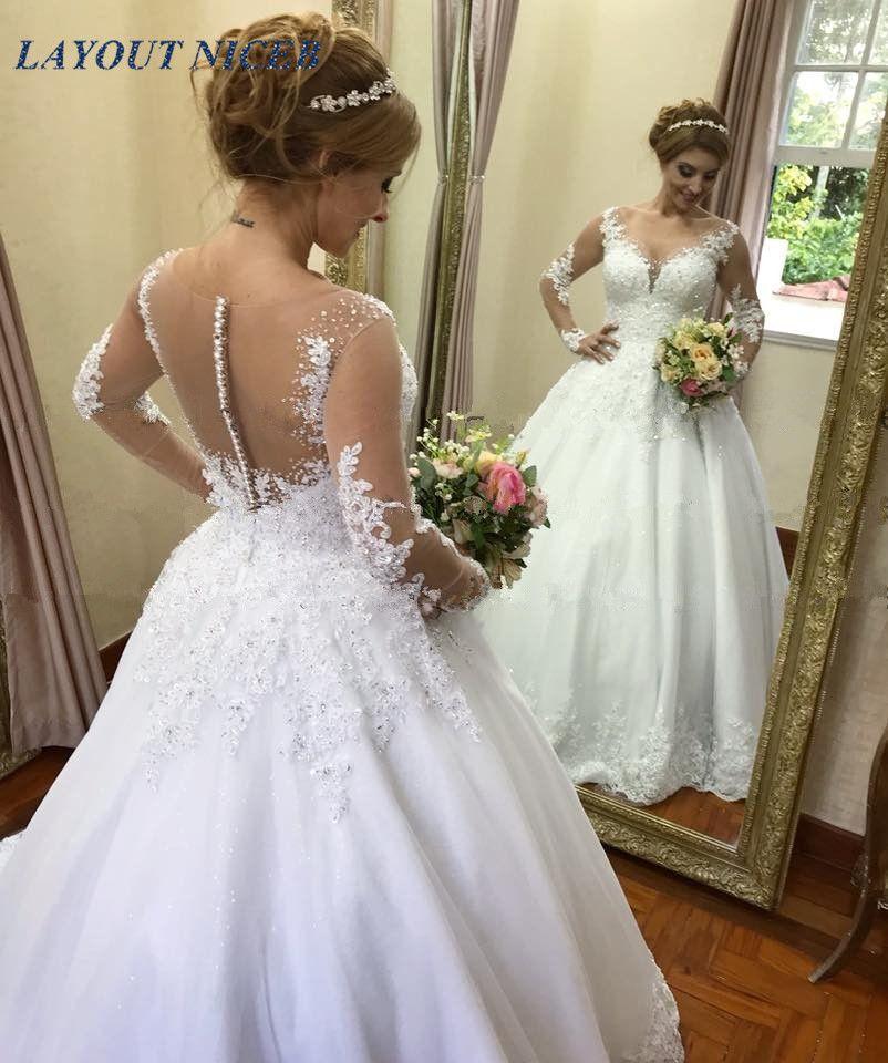Vestido de noiva Illusion Ballkleid Hochzeit Kleider 2019 Langarm Hochzeit Kleid Spitze Appliques Perlen Robe de Mariee Casamento