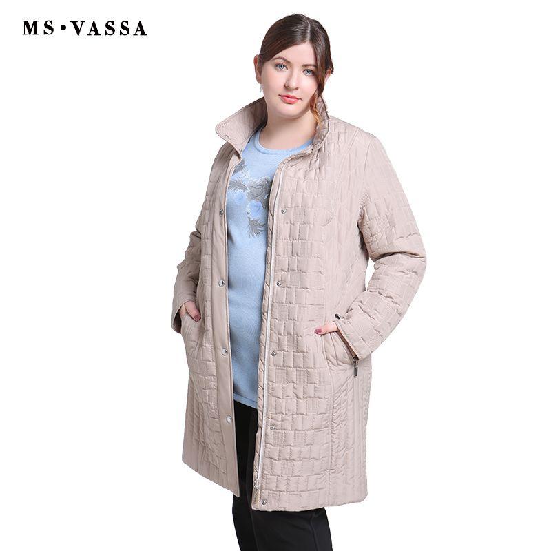 MS VASSA Ladies Coats 2018 Autumn Winter Women Trench plus size 4XL 7XL turn-down collar zipper  snap button placket outerwear