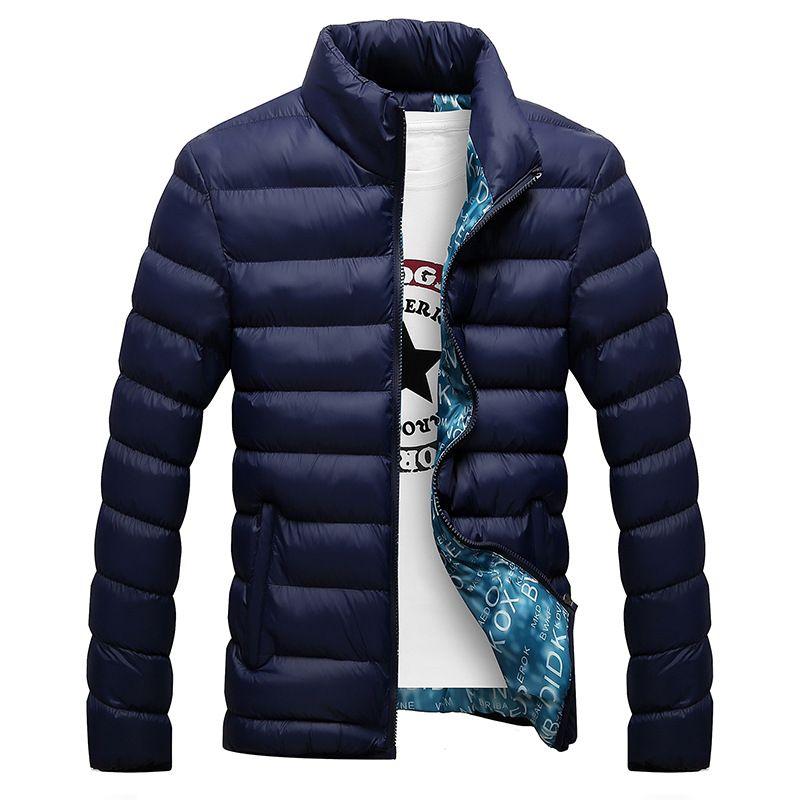Veste d'hiver hommes 2019 mode col montant homme Parka veste hommes solide épais vestes et manteaux homme hiver Parkas M-6XL