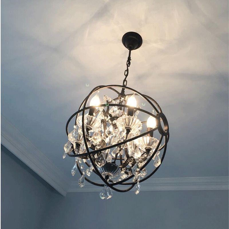 Nordic Industrie Retro Anhänger Kristall Eisen ball Form Lampe E14 Vintage Loft Amerikanischen Land Art Lampe Hängeleuchte Wohnzimmer