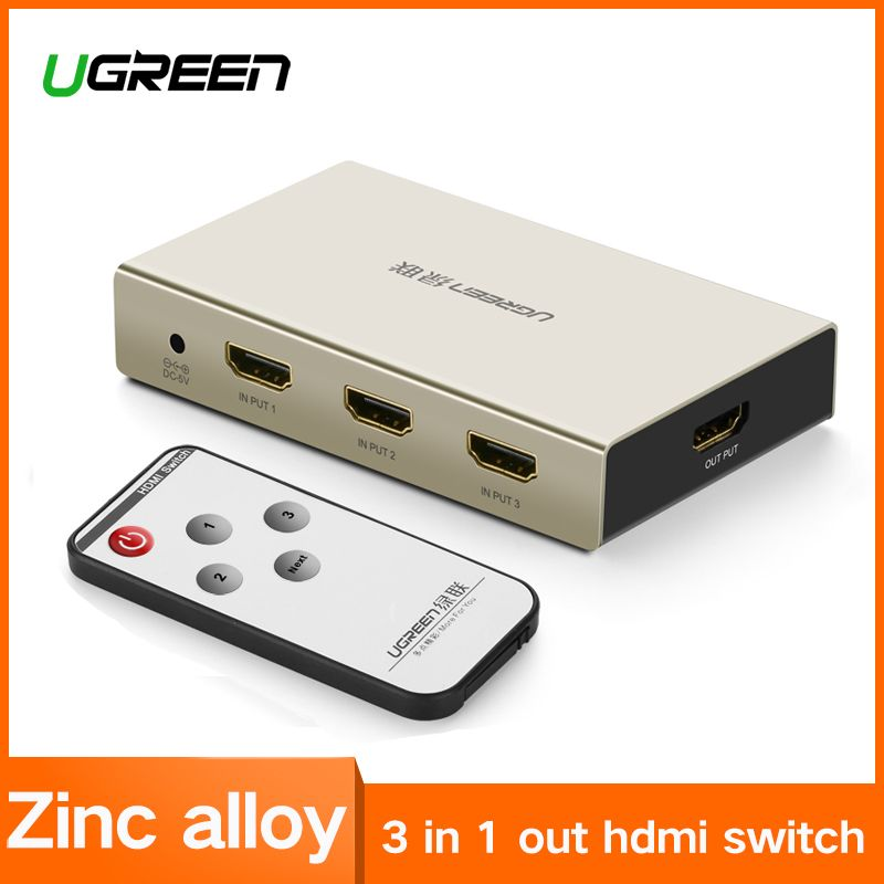 Ugreen HDMI Switch 4K HDMI Hub 3 in 1 out 3 Ports HDMI Switcher with Zinc Alloy Case for HDTVs Blu-ray Player Xbox 360 PS3 PS4
