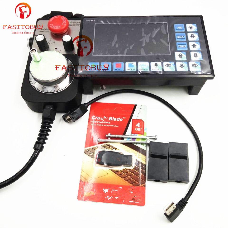 4 achsen Offline Controller DDCSV2.1 + Handrad MPG Kits 500 khz G Code Mach3 USB CNC Controller für Router Gravur bohren