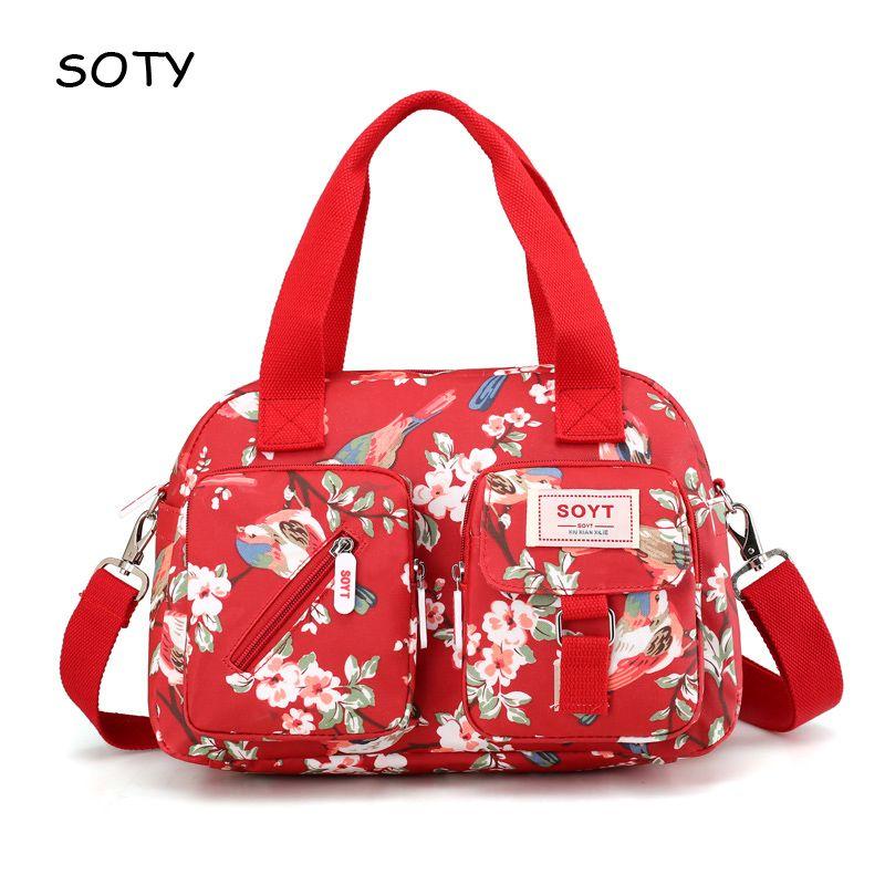 SOYT marque 2019 nouveau populaire fleurs et animaux motif Nylon femmes sacs à main sac à bandoulière pour femme impression messenger sacs