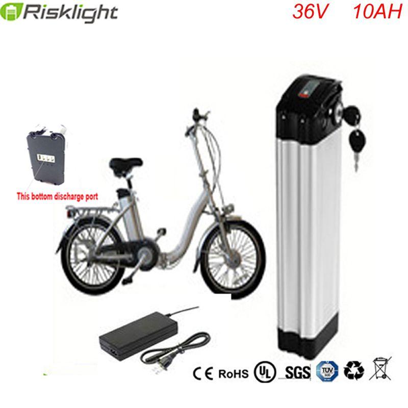 Bottom discharge Hi-Q ebike battery 36v silver fish 36V 10AH battery pack 18650 accu battery 36 volt with Aluminum alloy case