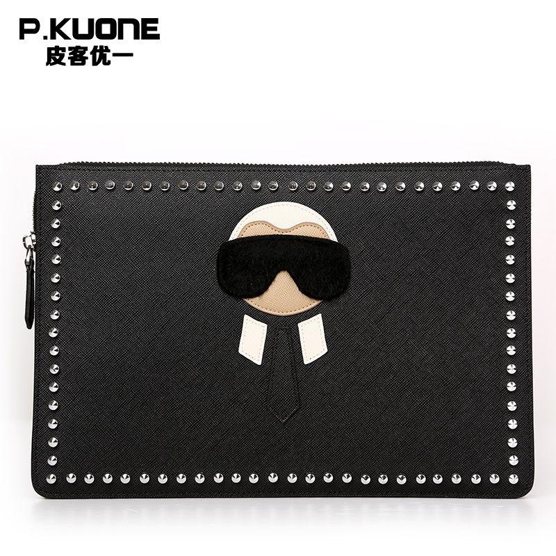 P.KUONE Luxury Rivet Women Wallets Cowhide Leather Clutch Bag Female Coin Purse Messenger Bag Women Brand Wallet Evening Bag