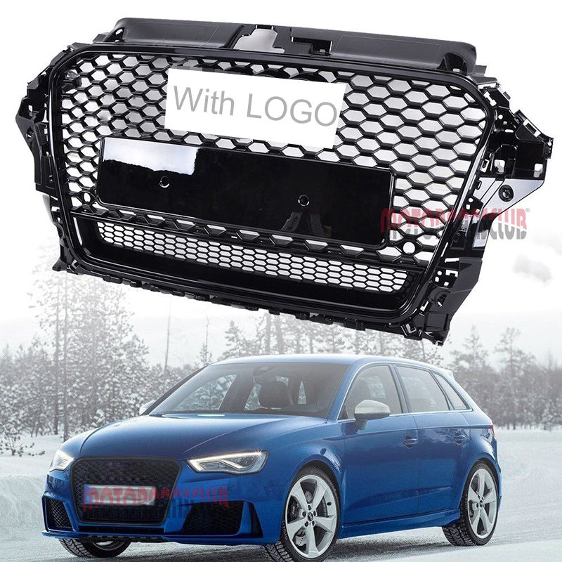 1 stücke Auto Racing Grille Für Audi A3 S3 Grill 2013-2016 Embleme Logo Heizkörper Chrom Trim Front Stoßstange ändern Teil Mesh Waben