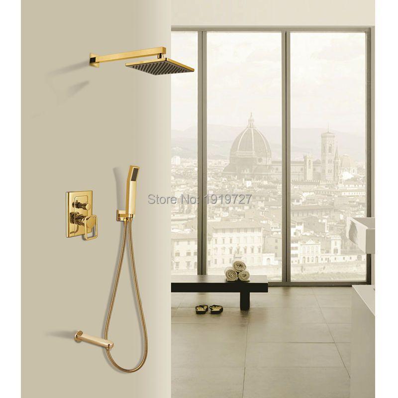 New Luxury Bathroom Brass 8 Inch Waterfall Rain Shower Head Arm Gold Wall Mounted Shower Faucet Set