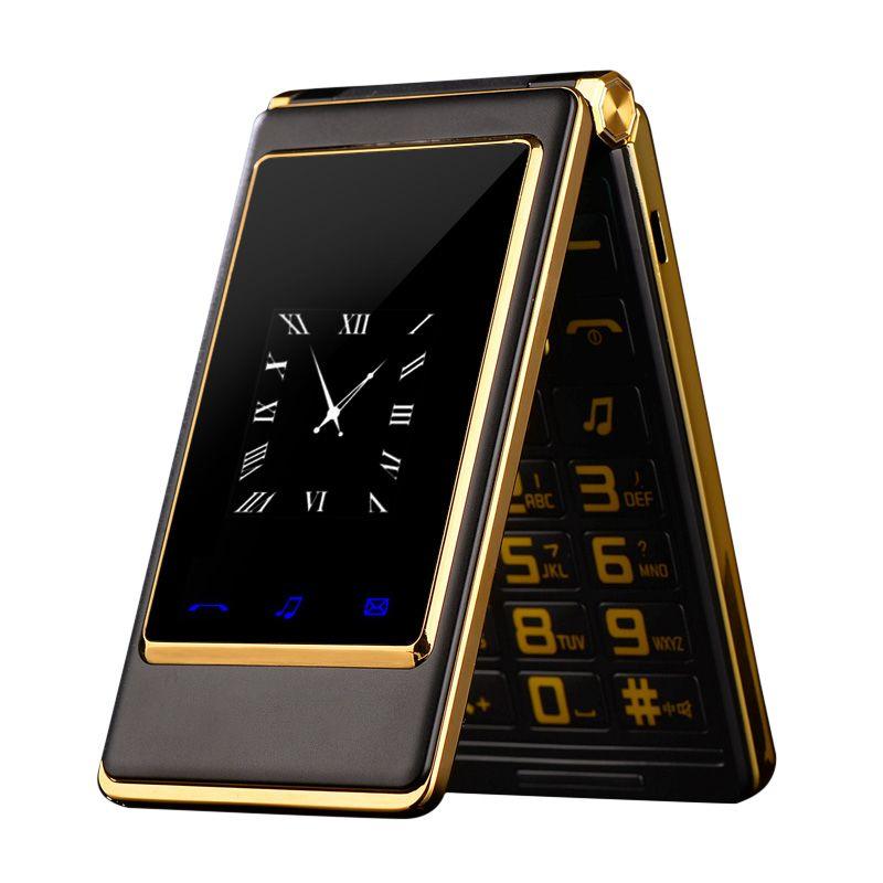 Flip téléphone 3.0 pouce Double Double Écran Double SIM écran tactile MP3 MP4 FM vibrer principal mobile téléphone pour vieux personnes P084