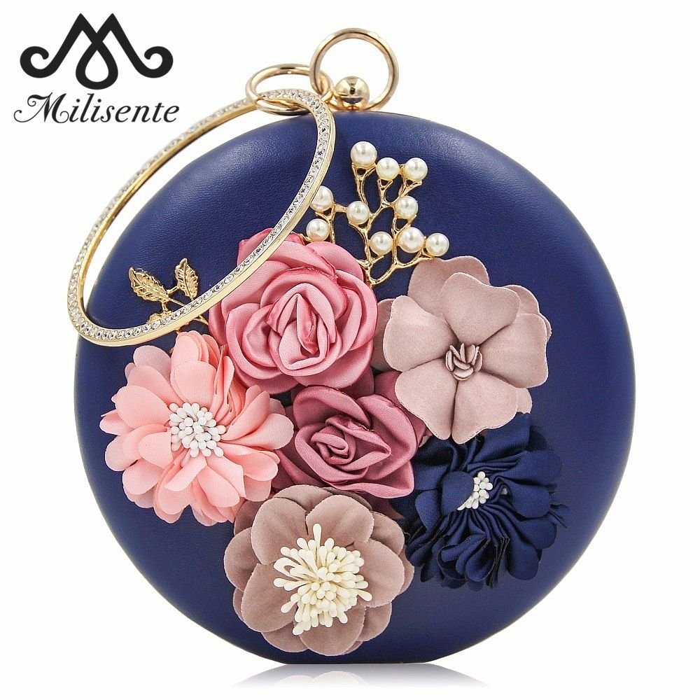Milisente 2017 New Women Evening Clutches Bags Ladies Flower Wedding Bag Day Purse Female Party Clutch
