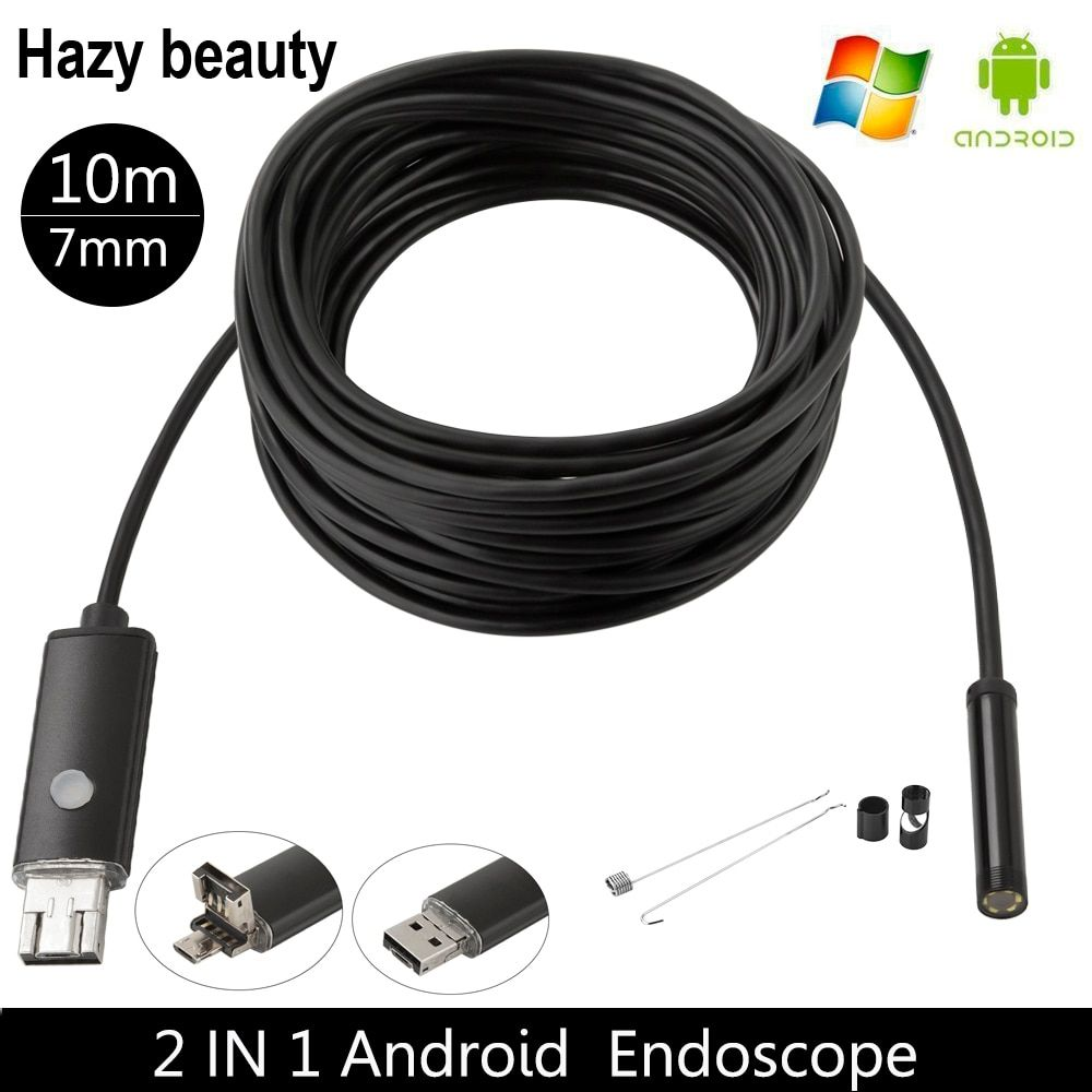 Hazy beauty 7MM USB Endoscope Android Camera 2M/5M/10M Snake Tube Pipe Waterproof Smartphone PC Endoskop Inspection Borescope