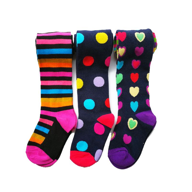 3 Pcs Pack Baby Girl Autumn Winter Striped Tights Children Pantyhose Stockings Girls Knee High <font><b>Flower</b></font> Kids Girl Tights